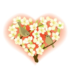 Birds on flowering branches vector image vector image