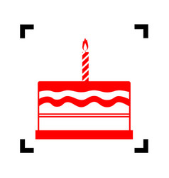 Birthday cake sign red icon inside black vector