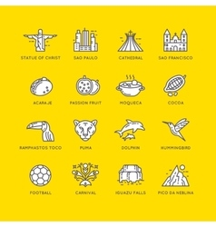 Brazilian culture linear icons set vector image vector image