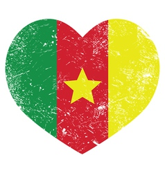 Cameroon retro heart shaped flag vector