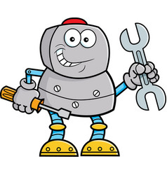 cartoon robot holding tools vector image vector image