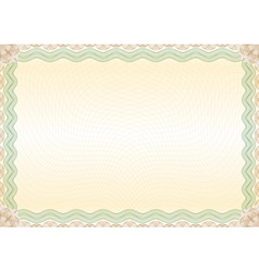 Certificate green brown border landscape vector image