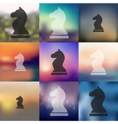 Chess icon on blurred background vector