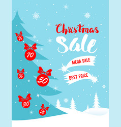 christmas winter sale poster vector image vector image