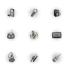 Device for music icons set pop-art style vector