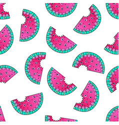 doodle watermelon seamless pattern vector image vector image