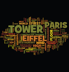 Eiffel tower text background word cloud concept vector