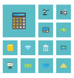 flat icons bank jewel gem atm and other vector image vector image