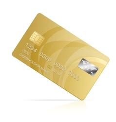 Gold credit card isolated vector