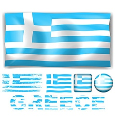 Greece flag in different design vector image