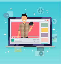 Happy blogger man in a laptop handsome man vector