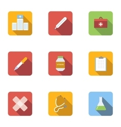 Healing icons set flat style vector