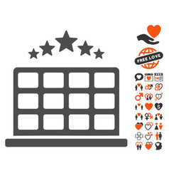 Hotel stars icon with valentine bonus vector