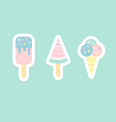 Ice cream flat sticker cons vector