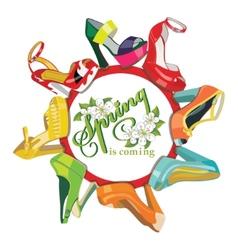 Multicoloured fashion womens shoescircle vector