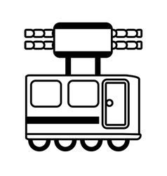 Outline railway cabine travel transport vector