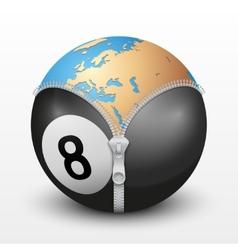 Planet earth inside billiard ball vector