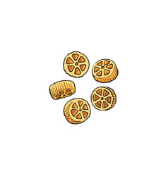 raw uncooked wagon wheel shaped italian pasta vector image