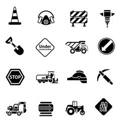 Road Repair Icons Black vector image
