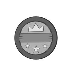 Round label icon black monochrome style vector