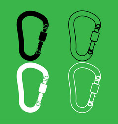 Safety hook or carabiner hook icon black and vector