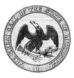 Seal of the State of Mississippi vintage engraving vector image