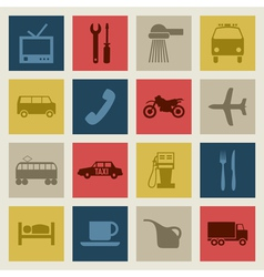 set of icons on a theme transport vector image vector image
