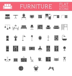 Set of Silhouette furniture outline icons Trendy vector image