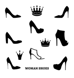 Set of woman shoes silhouettes with crowns vector