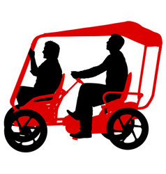 Silhouette of two athletes on tandem bicycle on vector