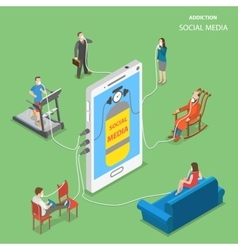 Social media addction flat isometric vector