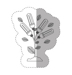 sticker with grayscale contour with plant stem vector image vector image