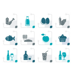 Stylized food drink and aliments icons vector