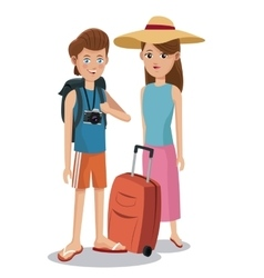 Travel couple tourist vacation backpack camera vector
