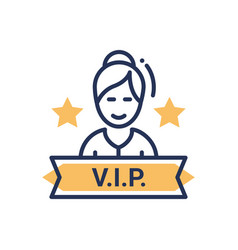 Vip person - modern single line icon vector