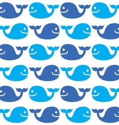 Whale seamless blue pattern on white vector image
