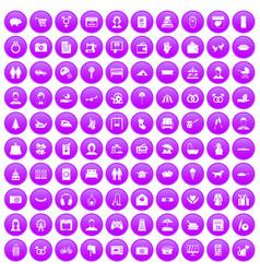 100 family icons set purple vector