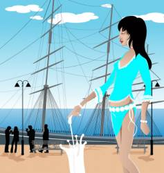 Beach girl illustration vector