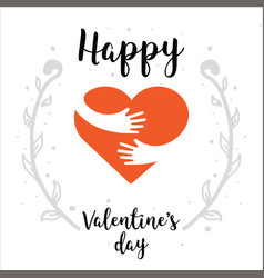 valentines day - hand painted lettering with heart vector image