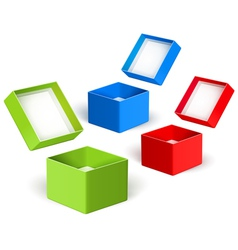 Open color boxes vector