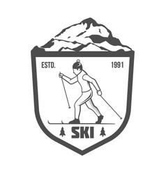 Vintage skiing label badge and design elements vector
