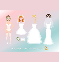 Set of clothes for the bride in cartoon style vector