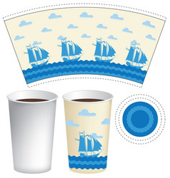 Template paper cup with sailing ships in the sea vector