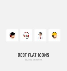 Flat icon call set of headphone call center vector