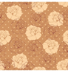 Seamless brown dots and roses floral pattern vector image