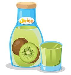 Kiwi juice in the bottle vector image