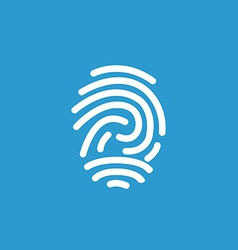 Fingerprint icon white on the blue background vector