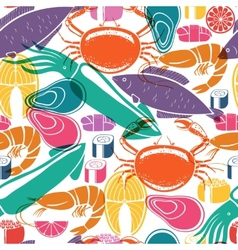 Fish and seafood background seamless pattern vector