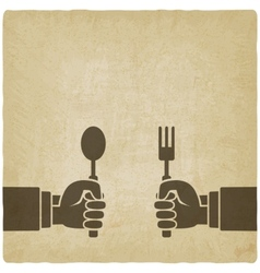 Menu old background hands with fork and spoon vector