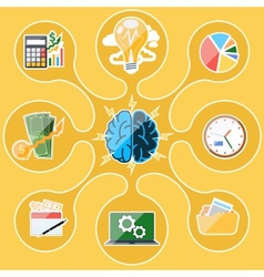 Concept of business thinking and activities vector
